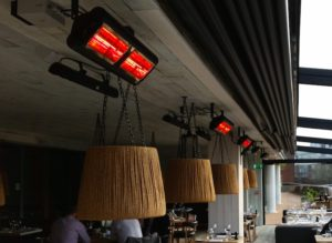 Tansun Monaco Infrared heaters under Patio Awnings
