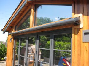 Fully retracted Markilux awning in matching RAL colour to house A prefect garden shade solution by alfresco365