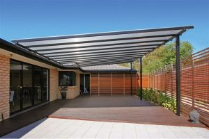 Polycarbonate canopy with black aluminium frame for all year round alfresco lifestyle use